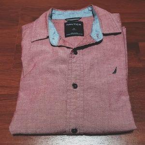 Nautica button up long sleeve shirt sz M 10/12